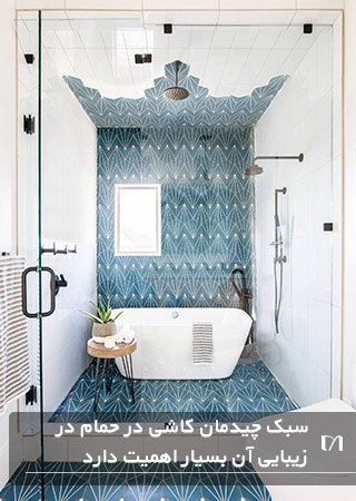 حمام با کاشی از کف تا سقف و بسیار جذاب آبی