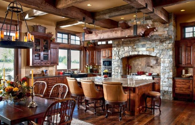 تصویری از یک آشپزخانه شلوغ به سبک روستیک