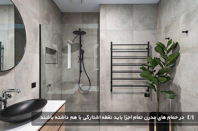 حمامی با سبک مدرن و گیاهی زیبا