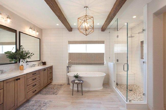 حمام مستر طرح چوب و شیشه ای