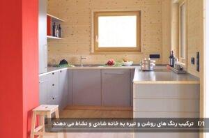 آشپزخانه ای با کابینت های رنگ قرمز و طوسی گرم