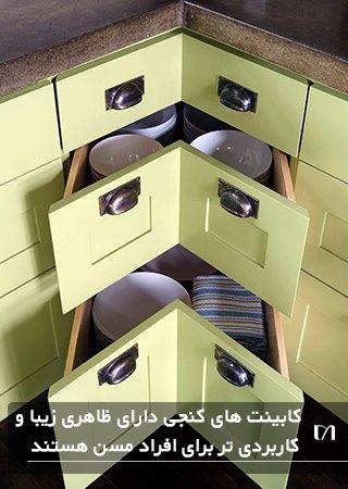 کابینت کنجی بسیار پر کاربرد و زیبا به رنگ لیمویی
