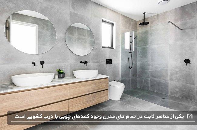 حمامی به سبک مدرن با کمدهای درب کشویی