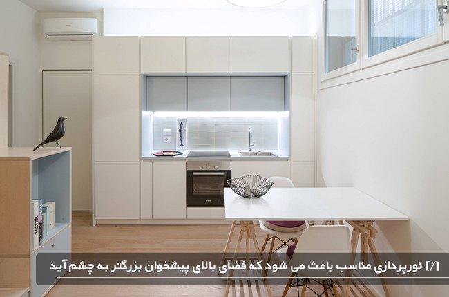 نورپردازی مناسب کابینت ها در آشپزخانه سفید رنگ