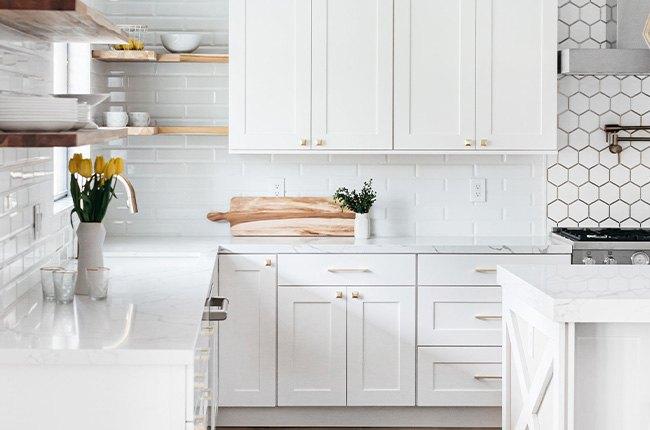 آشپزخانه سفید بزرگ با گلدان