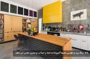 آشپزخانه ای با ترکیب رنگی طوسی و زرد جذاب