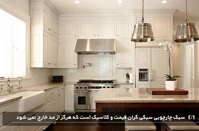 درب کابینت آشپزخانه با طراحی چارچوبی بسیار گران و زیبا