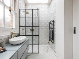 حمام مدرن طوسی با روشویی سنگی سفید