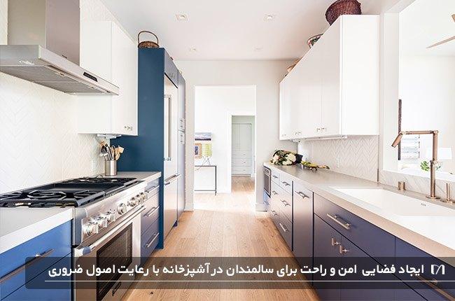 تصویری از یک آشپزخانه دلباز با کابینت های سفید و آبی با درنظر گرفتن فضای باز کافی