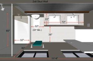 تصیویری از اندازه های استاندارد و کاربردی برای بازسازی یک حمام