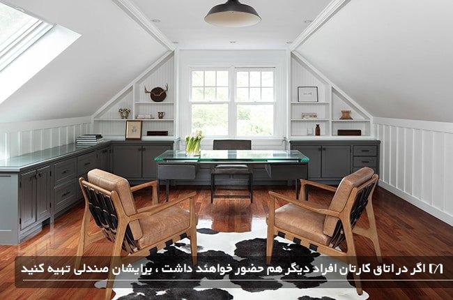 تصویر اتاق کاری زیرشیروانی با صندلی های چوبی اضافه