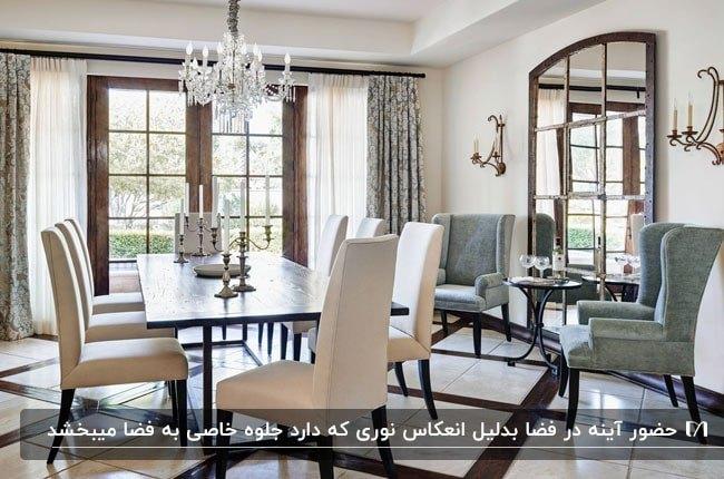 آینه پنجره ای با فریم چوبی در کنار میز غذاخوری در سالن غذاخوری