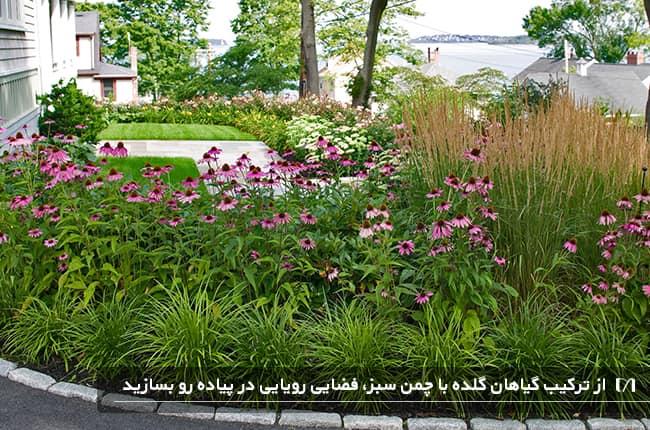 تصویر باغچه پیاده رویی که در آن گل های زیادی کاشته شده است