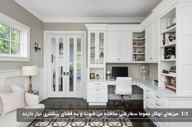 طراحی اتاق کاری سفید و کرم با میز تو کار جادار