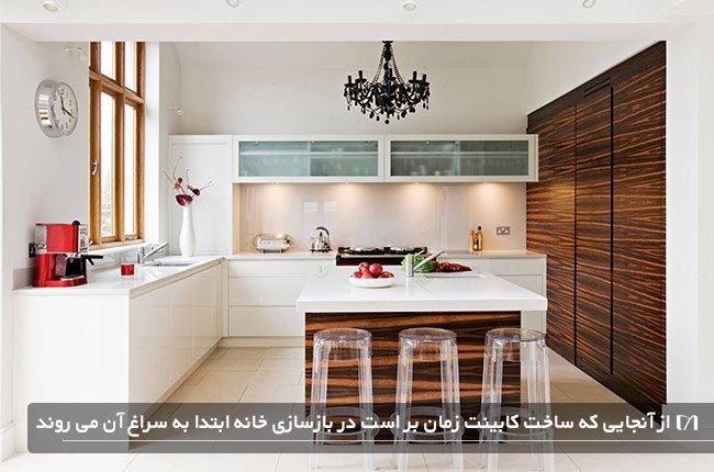 کابینت های سفارشی یک منزل زیبا و شیک به رنگ قهوه ای و سفید بعد از بازسازی