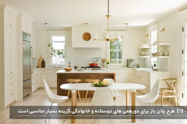 آشپزخانه ای به رنگ سفید و شیری با میزناهاخوری بسیار زیبا و شیک