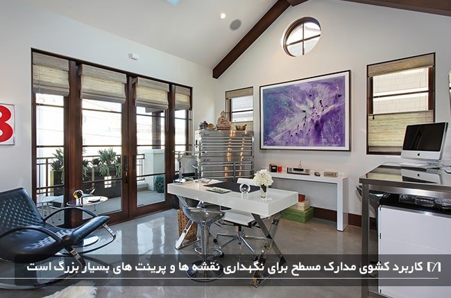 تصویری از یک اتاق کار سفید به همراه کشوهای مسطح استیل