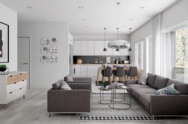 اتاق نشیمن با طراحی پلان باز همراه بامبل های طوسی و سه صندلی کانتر