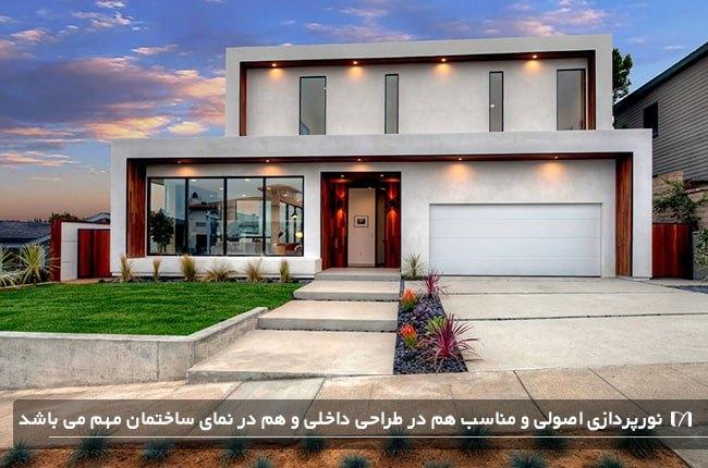 نورپردازی خانه ای ویلایی با ورودی بسیار زیبا و خیره کننده
