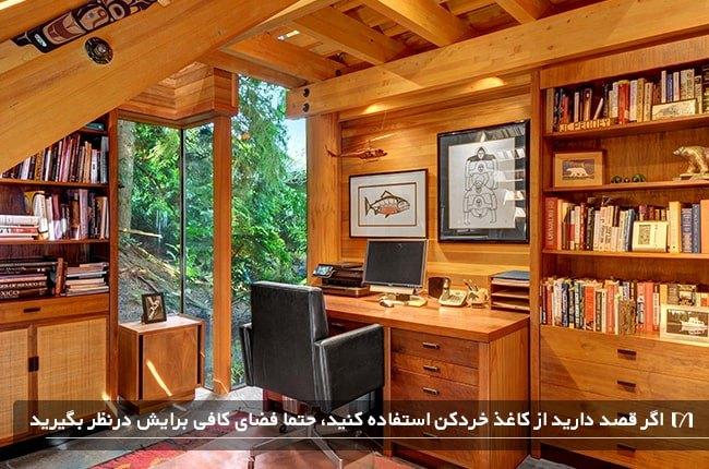 تصویری از یک اتاق کار چوبی به همراه خردکن کاغذ بر روی میز کار