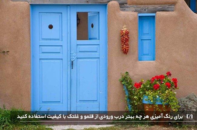تصویر ورودی خانه ای با دیوار های گلی و درب چوبی به رنگ آبی