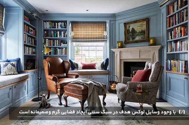 نشیمن با دکوراسیون داخل مبل های چرم و کتابخانه به سبک سنتی و زیبا