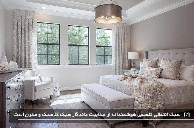 اتاق خوابی با سبک چیدمان دکوراسیون داخلی انتقالی به رنگ سفید و زیبا