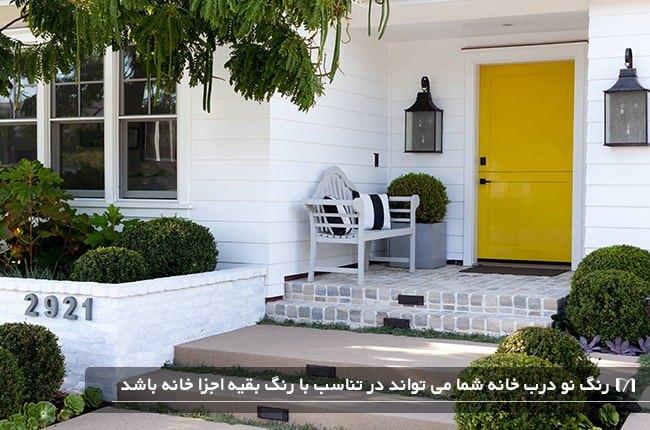 تصویری خانه ای با نمای سفید و درب ورودی با رنگ زردی متضاد رنگ نما