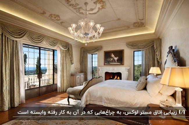 اتاق خوابی مستر با شومینه، تخت دو نفره، کاناپه و لوستر و چراغ های مخفی برای نورپردازی