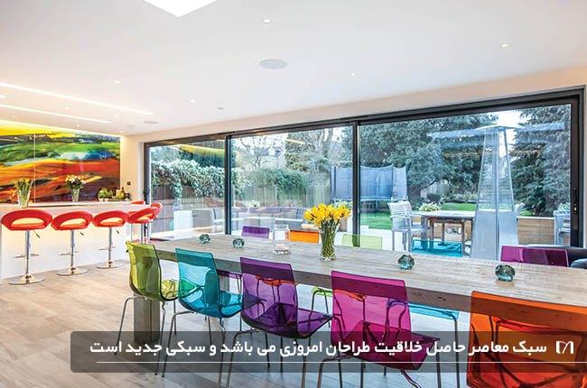 آشپزخانه ای با دکوراسیون داخلی میز ناهاخوری و صندلی های رنگی جذاب