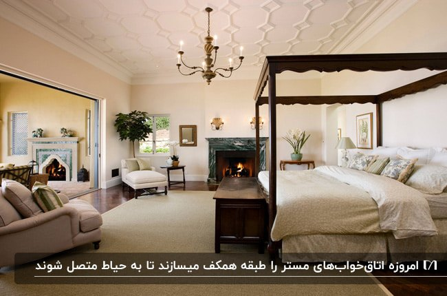اتاق خواب مستر بزرگی با تخت قهوه ای تیره و شومینه که به حیاط راه دارد