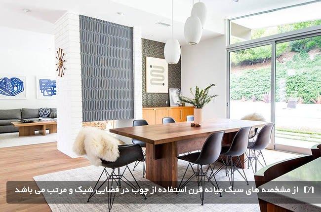 آشپزخانه ای به سبک چیدمان داخلی میانه قرن با میز ناهارخوری چوبی بسیار زیبا