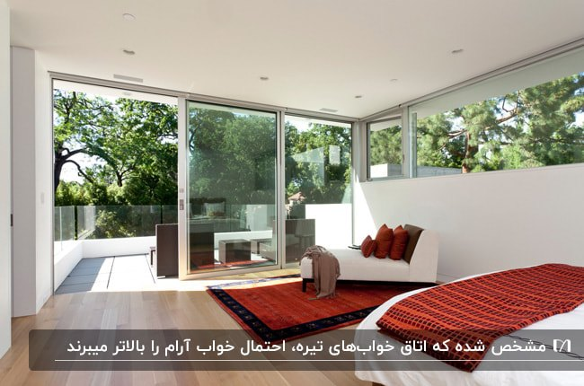 اتاق خواب مستری با در و پنجره های شیشه ای، تخت و کاناپه سفید و فرش و کوسن های قرمز