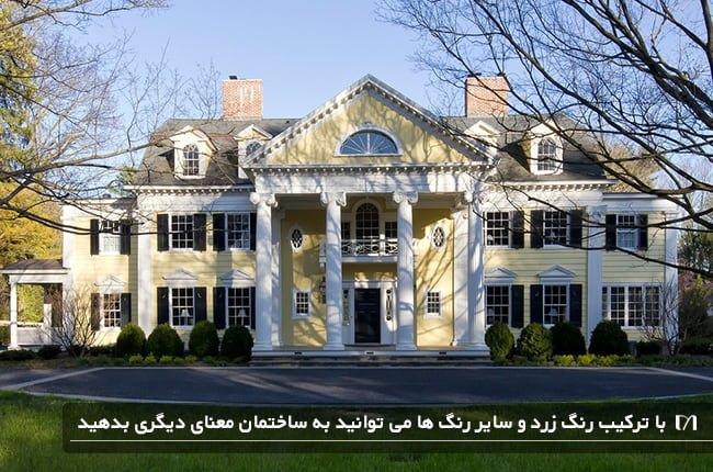تصویر خانه ای بسیار بزرگ که با رنگ زرد و متضادهای آن خطای چشم ایجاد شده است