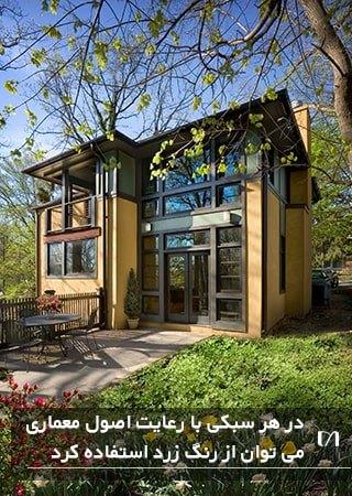 تصویر خانه ای به سبک مدرن اما با نمایی به رنگ زرد و جذاب