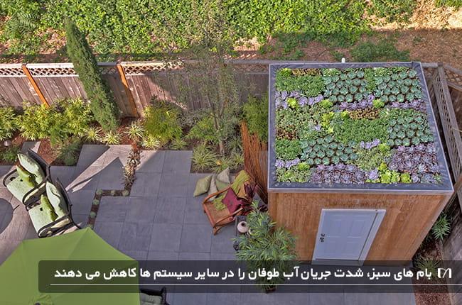 بام سبز خانه ای از نمای بالا که حیاط خانه کاملا مشخص است