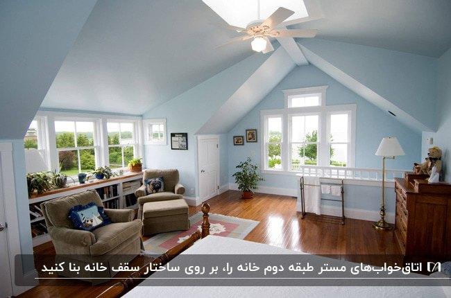 اتاق خواب مستر طبقه دوم خانه ای با دیوارهای آبی آسمانی و کفپوش چوبی