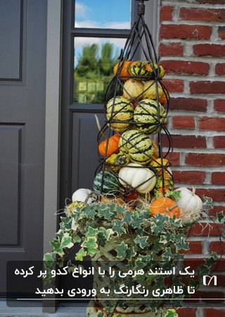 ورودی خانه ای با استند پاییزی با انواع کدوها برای تزئین