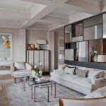 اتاق نشیمن با دکوراسیون رنگ سفید و سبک معاصر