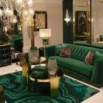 مبلمان و فرش های رنگ سبز با میزجلومبلی
