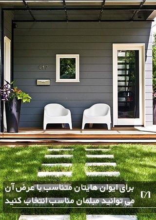 تصویر چیدمان صندلی در حیاط کوچک یک خانه چمن کاری شده