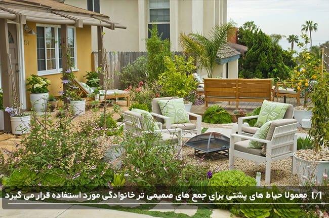 طراحی و چیدمان حیاط یک منزل ساحلی با صندلی
