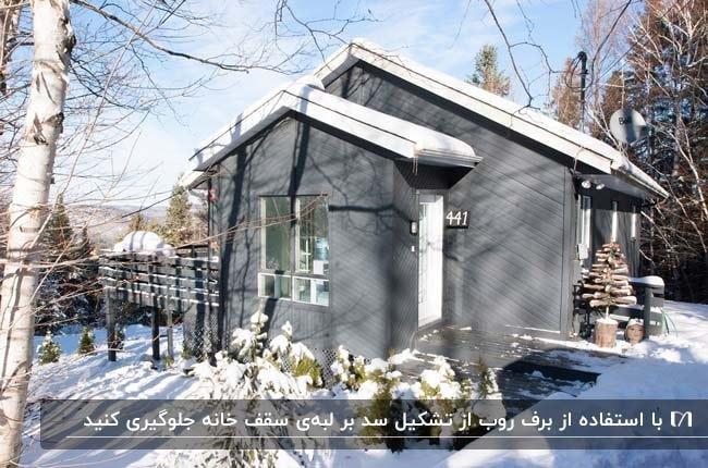 نمای بیرونی خانه ای خاکستری با لبه های سفید سقف در هوای برفی زمستان