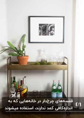 قفسه دو طبقه چرخدار برنزی کنار دیوار به همراه تعدادی بطری و یک گلدان گل