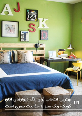 اتاق کودکی با دیوار سبز، روتختی آبی و تخت چوبی