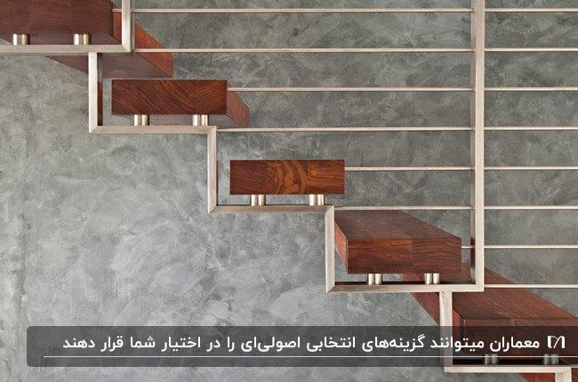 تصویر راه پله داخلی طراحی یک معمار با پله های چوبی و نرده های استیل
