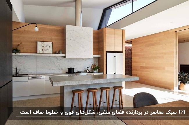 تصویر آشپزخانه ای به سبک معاصر با کابینت های ترکیبی چوب و سنگ