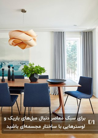 تصویر یک اتاق غذاخوری معاصر با میز چوبی، صندلی ها و اکسسوری های سورمه ای