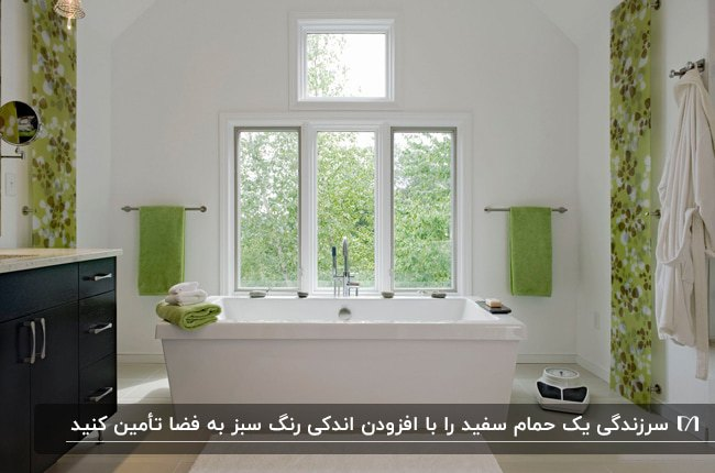 تصویر یک حمام بزرگ سفید با پنل های دیواری سبز و حوله های سبز روی دیوار