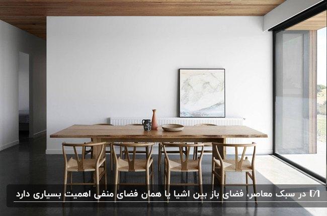 اتاق غذاخوری به سبک معاصر با میز مستطیلی و صندلی های چوبی